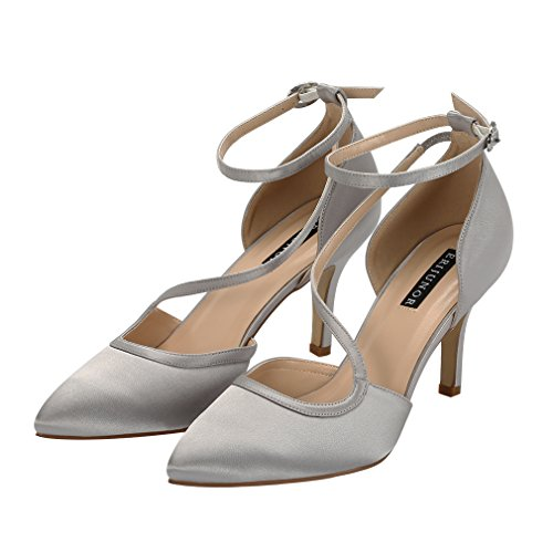 Comfortable Shoes Women Party ERIJUNOR Dress Evening Satin Pumps Mid Strappy Toe Ankle Wedding Pointed Silver Heel T65qpO5