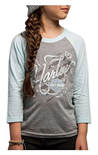 Harley-Davidson Girls' Candy Floss 3/4 Raglan Sleeve Crew Shirt 5P0Y-HC5M (XS) 3/4 Raglan Sleeve Crew Shirt