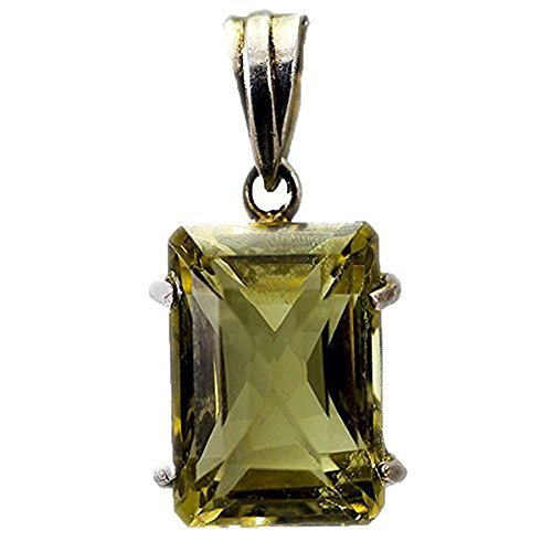 Sterling Silver Rectangular Lime Quartz Pendant with 18-Inch (Lime Quartz Pendant)