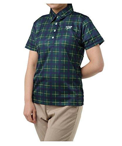 資料ローブ放映オプスト レディース ゴルフウェア ポロシャツ 半袖 チェック柄半袖シャツ OP220301H05 GN L