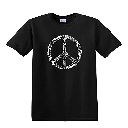 LA Pop Art - Men's T-shirt - The Word Peace in 77 Languages - Black - Large