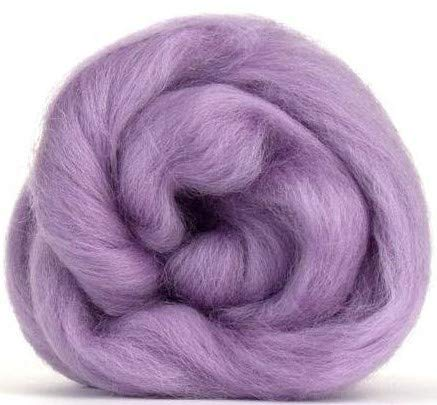 4 oz Paradise Fibers Lavender (Purple) Corriedale Top Spinning Fiber Luxuriously Soft Wool Top Roving for Spinning with Spindle or Wheel, Felting, Blending and Weaving