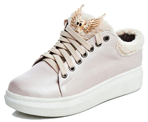 Easemax Mujeres Trendy Fluffy Round Toe Low Wedge Tacón Con Cordones Zapatillas Rosa