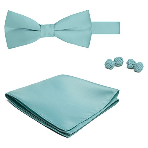 d Color Men's Bowtie Hanky and Cufflink Set - Aqua Blue ()