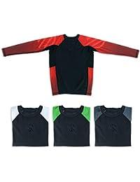 Sanabul Kids Essentials Long Sleeve Compression Training Rash Guard for MMA BJJ Wrestling (RED, Large)