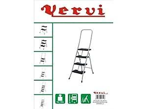 Vervi - Escalera 4 Peldaños Blanca Con Barandilla Alta