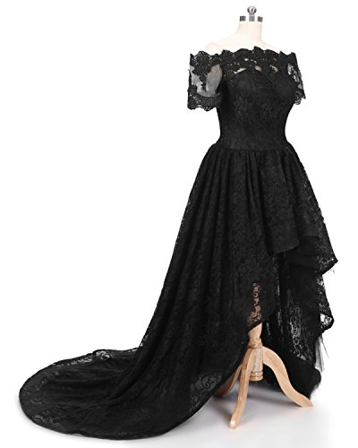 Maxi Low Black Style1 lilac Lace Off Evening Sleeve Women's Dress Diandiai Shoulder The Hi 2018 Dress Short Prom Dress qnZfw1RA
