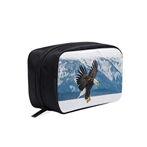 Eagle Hovering Over Snowy Mountains Portable Travel Makeup Cosmetic Bags Organizer Multifunction Case Small Toiletry Bags For Women And Men Brushes Case - Flight Eagle Majestic