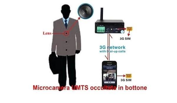 Desconocido Botón espía Spy Camera espía cámara oculta 3 G videollamada UMTS: Amazon.es: Electrónica