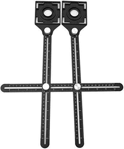 LUCKYYAN Universal Angle Measuring Ruler Dual-Head Multi-Functional Ceramic Tile Opening Hole Locator for Builder Roofers Tiler