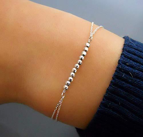 Handmade Dainty Sterling Silver Beads Bar Bracelet