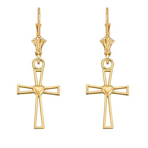 Heart Cross Dangle Earrings 14k Yellow Gold