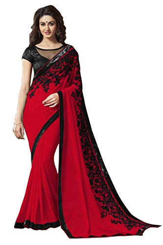 Mirraw Red Embroidered Wedding Party Wear Festive Saree with Unstitched - Saree Festive