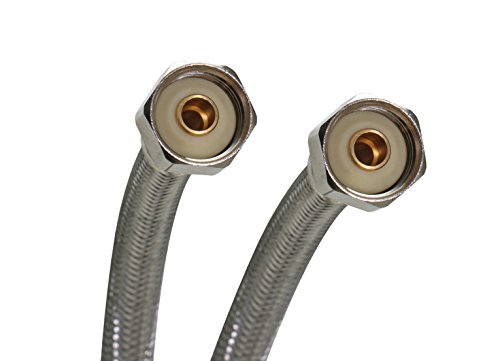 Fluidmaster B4F30 Faucet Connector, Braided Stainless Steel - 1/2 F.I.P. Thread x 1/2 F.I.P. Thread, 30-Inch Length