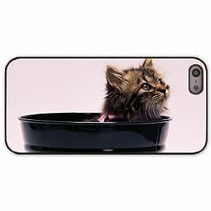iPhone 5 5S Black Hardshell Case kitten fluffy bow Desin Images Protector Back Cover