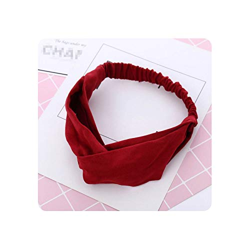 Women Autumn Suede headband Vintage Cross Knot Elastic Hair Bands Soft Solid Girls Hair Accessories,1 Wine Red
