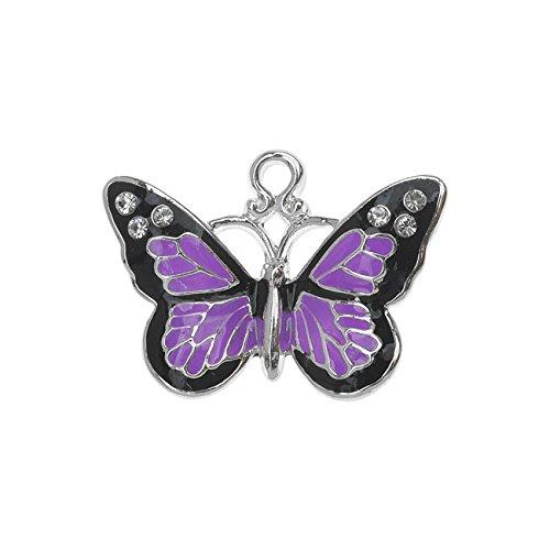 (Beadaholique Silver Plated and Enameled Charm, Monarch W/Swarovski Elements 17.7x24.5x3.3mm, 1 Piece, Purple)