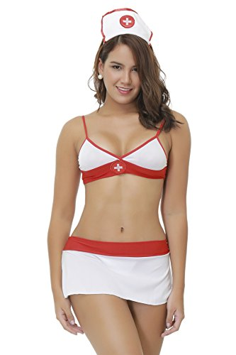 Rookay Sexy Nurse Costumes for Women Naughty Nurse Outfit Lingerie Plus Size Miniskirt Bra and Panty Set (XXL)