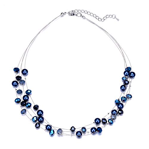 Bulinlin Layered Choker Freshwater Pearl Necklace - Fashion Jewelry Necklace Gifts for Women Girls Mom (17-Navy Blue)