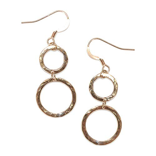 Gold Hammered Circles Drop Earrings/Thread Earrings, Chain Earrings, Dangle Earrings