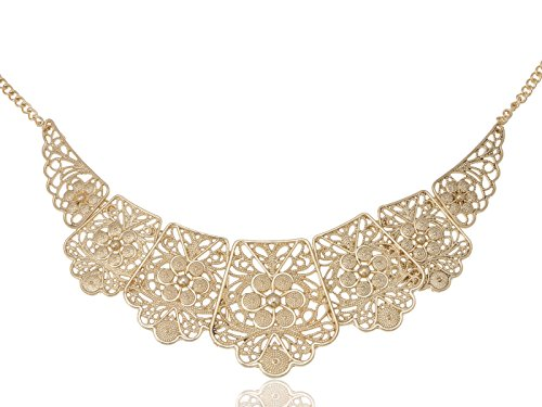 Alilang Golden Tone Matte Filigree Floral Cut Out Chunky Statement Bib Collar Necklace (Filigree Floral Brooch)