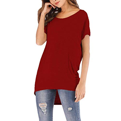 edited Woman Fashion Short Sleeve T-Shirt Boat Neck Off Shoulder Basic T-Shirt Knits & Tees Wine Red