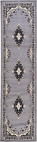 Unique Loom Reza Collection Classic  Traditional Gray Runner Rug (2' 7 x 10' 0) ()