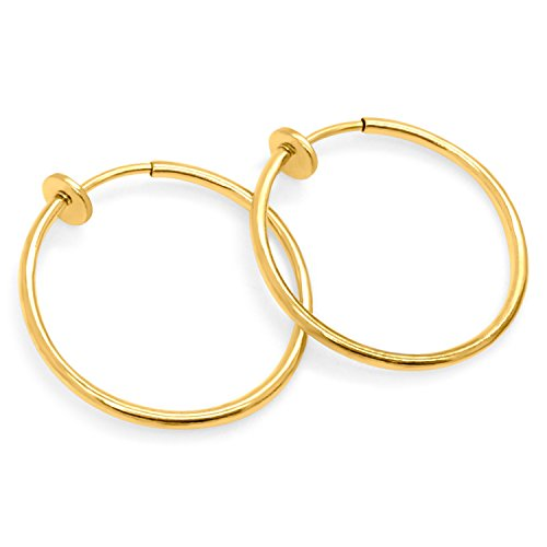 Gold Plated Brass Spring Hoops Earrings Clip On-Small, Medium & Large Hoops for Women & Girls, Unpierced (Gold Medium) (Small Hoop Non Pierced Earrings)