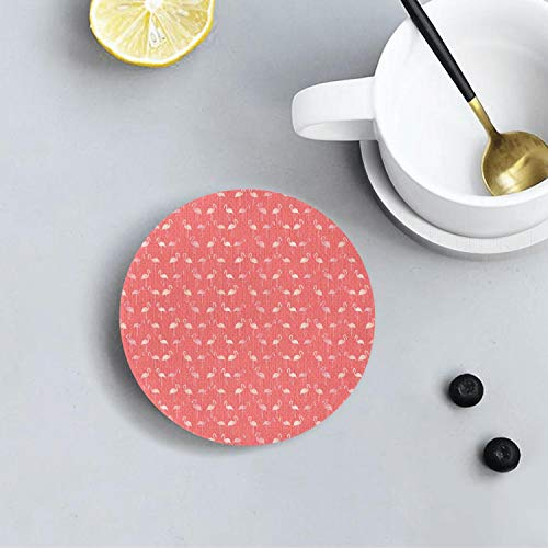 (Pink Flamingo Gift on Pink Polka Dot Unique Diatomite Drink Coasters Environmental Health Absorbent Coaster Prevent Furniture From Dirty and Scratched Suitable for Kinds Of Cups and Mugs )