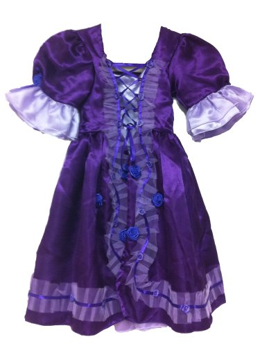 White Swan Ballerina Costume (Princess Laceup Party Dress, Front Roses, Short Sleeves (medium, purple))