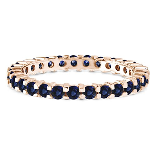 Stackable 2.1 mm Genuine Sapphire Set In Rose Gold Plated Silver Double Shared Prong Eternity Ring by TwoBirch
