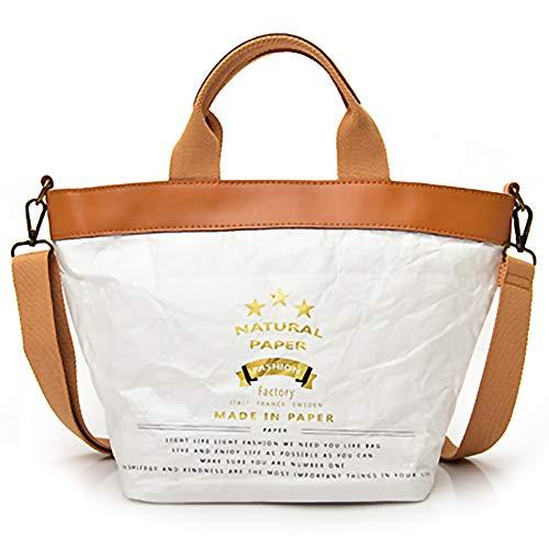 Leather Fashion Washable Paper Lightweight QTKJ Tote Bag Environmental Protection Zipper Handbag Straps With Kraft q7a6qF