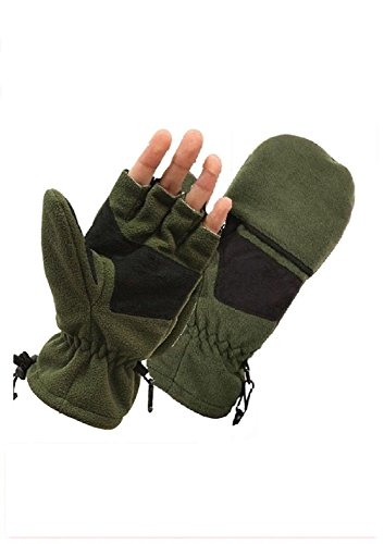 Black Mechanics Style Gloves (Olive Drab Fleece Fingerless Military Style Sniper Gloves / Mittens)