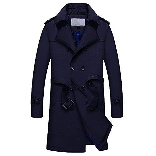 (Mens Motorcycle Jacket Leather.Men Winter Warm Jacket Overcoat Outwear Slim Long Trench Buttons Zipper Coat)