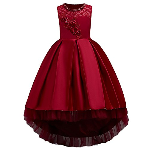 HUANQIUE Girls Hi-Low Wedding Pageant Dress Flower Girl Party Gowns Red 5-6 Years -