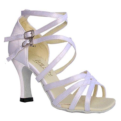 50 Nuances 5008 Confort Robe De Soirée Sandales À Pompe, Chaussures De Danse De Salon Pour Femmes (2.5, 3 Et 3.5 Talons Hauts) Blanc Satin