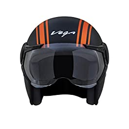 Vega Jet Old School Open Face Helmet (Dull Black and Orange, L)