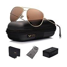 LUENX Aviator Sunglasses Polarized Men Women with Case - UV 400 Protection 60mm