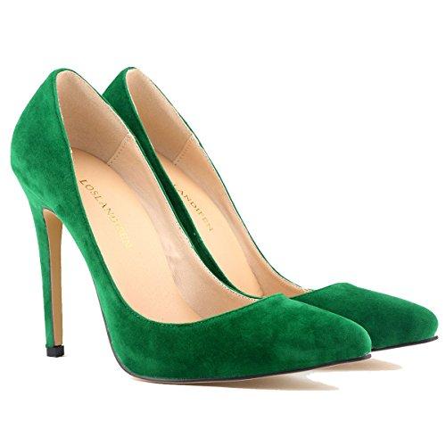 Loslandifen Donna A Punta Chiusa Tacchi A Spillo Snello Stiletto Pompe Di Velluto Verde