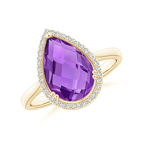 (Pear-Shaped Amethyst Cocktail Ring with Diamond Halo in 14K Yellow Gold (12x8mm Amethyst))