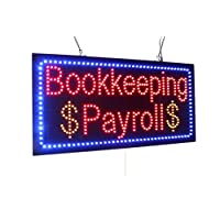 Bookkeeping Payroll Sign, TOPKING Signage, LED Neon Open, Store, Window, Shop, Business, Display, Grand Opening Gift