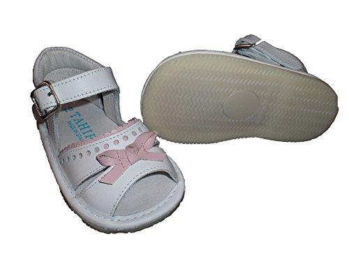 Zapatos sandalias para bebé con lazo, suela fina, flexible y antideslizante. Zapatitos hechos en España en piel. Rosa