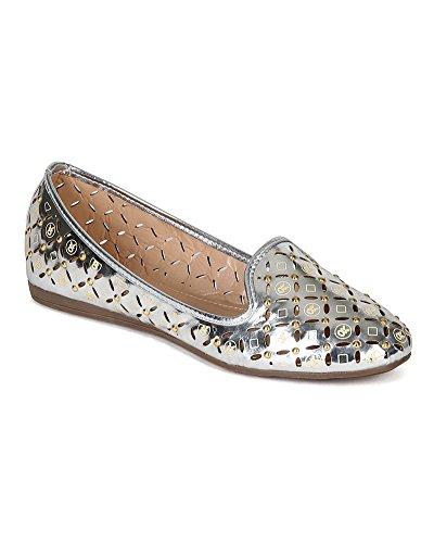 Studded Liliana On Women CK13 Leatherette Metallic Perforated Slip Silver Flat rqIAqRw