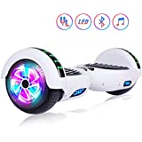 """Felimoda 6.5"""" inch Two Wheels Electric Smart Self Balancing Scooter Hoverboard with Wireless Speaker LED Light-UL 2272 Certified for Kids Gift and Adult,White"""