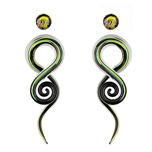 TOPBRIGHT Glass Spiral Tapers Kit with Jellyfish Ear Plugs 4 Pieces Glass Piercing Ear Gauges (GeenBlack Giltter-0g-8mm)
