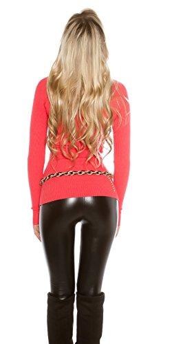 Koucla Damen Wickel Pullover Sweater mit Wickeleffekt Coral IrGZuLODtT