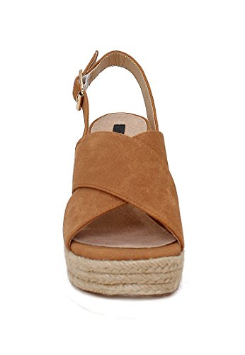 London Rag Women's Chunky Heel Espadrille Sandals Tan ekMzShy5XL