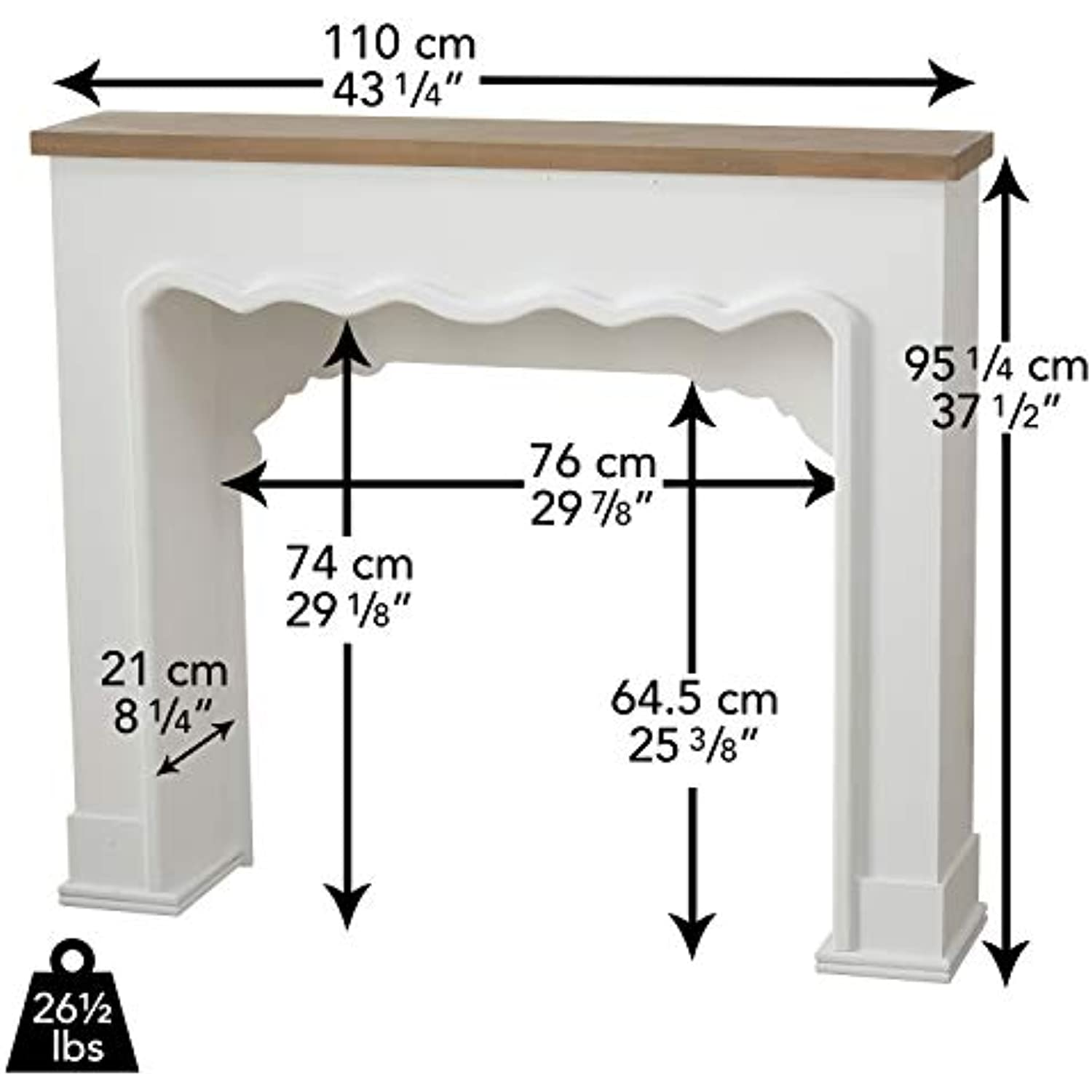 Comfy Cottage Faux Fire Mantle , Rustic Nut Brown Plank-Lintel, Scallop Edged Surround Details, White Painted, Natural and MDF Wood, Over 3 Ft Long (43 1/4 L x 37 1/2 H Inches) Free Standing Unit