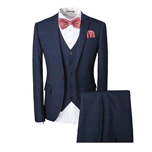 Men's One-Button Designer Luxurious Suits Plaid Tuxedos 3-Piece Set (XX-Large, Dark (Navy Plaid Suit)