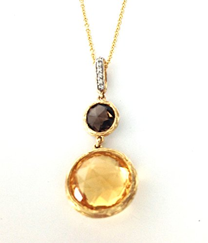 4.12 TCW Round Citrine, Smoky Quartz & Diamond Pendant 14k Brushed Gold w/ Chain